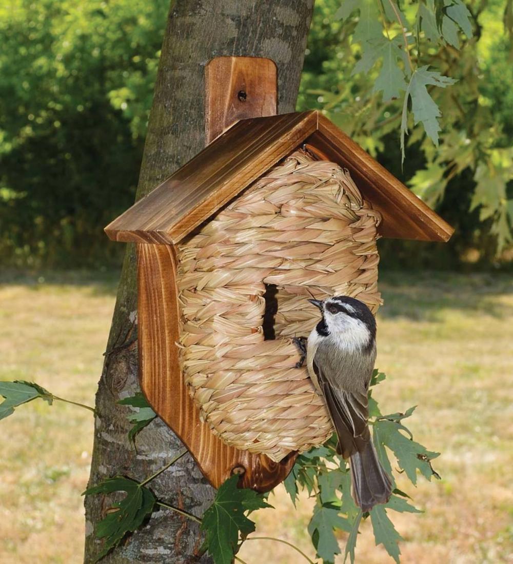 Driftwood Birdhouse Chalet Handmade Natural Wood Garden decor Yard Art