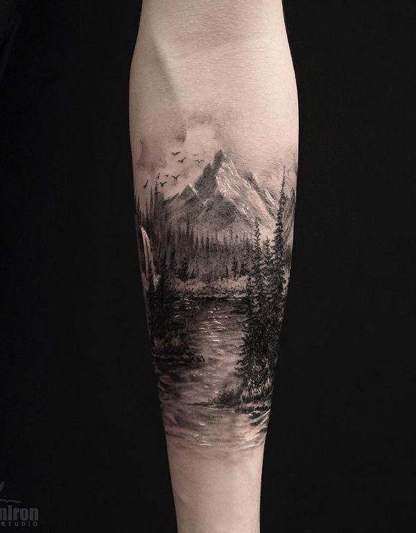 Photo of 40 Landscape Tattoo Ideas | Cuded