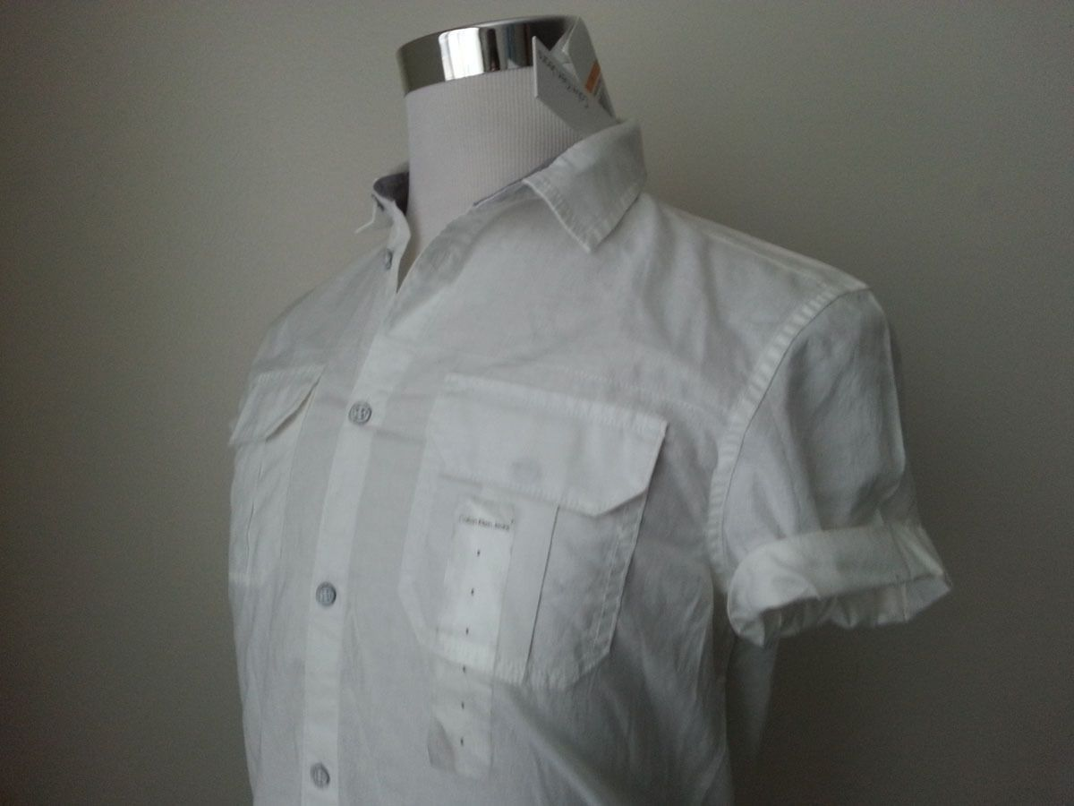 Calvin klein jeans menus short sleeve white cotton slim casual shirt