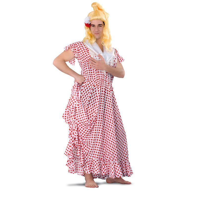 Completo y cachondo disfraz de sevillana o flamenca para hombre ...