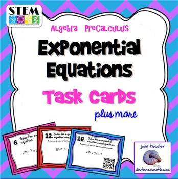 Solving Exponential Equations With Logs Task Cards Qr Pinterest
