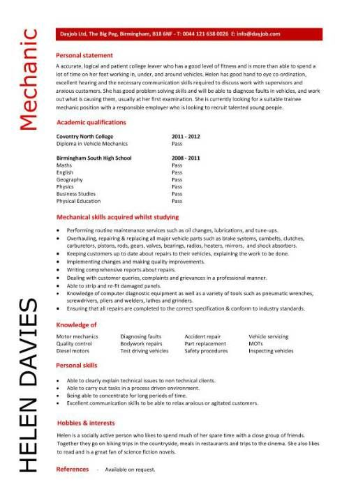 How To Write An Entry Level Resume Gorgeous Example Of Cv  Mechanic Resume  Pinterest  Resume Examples And .