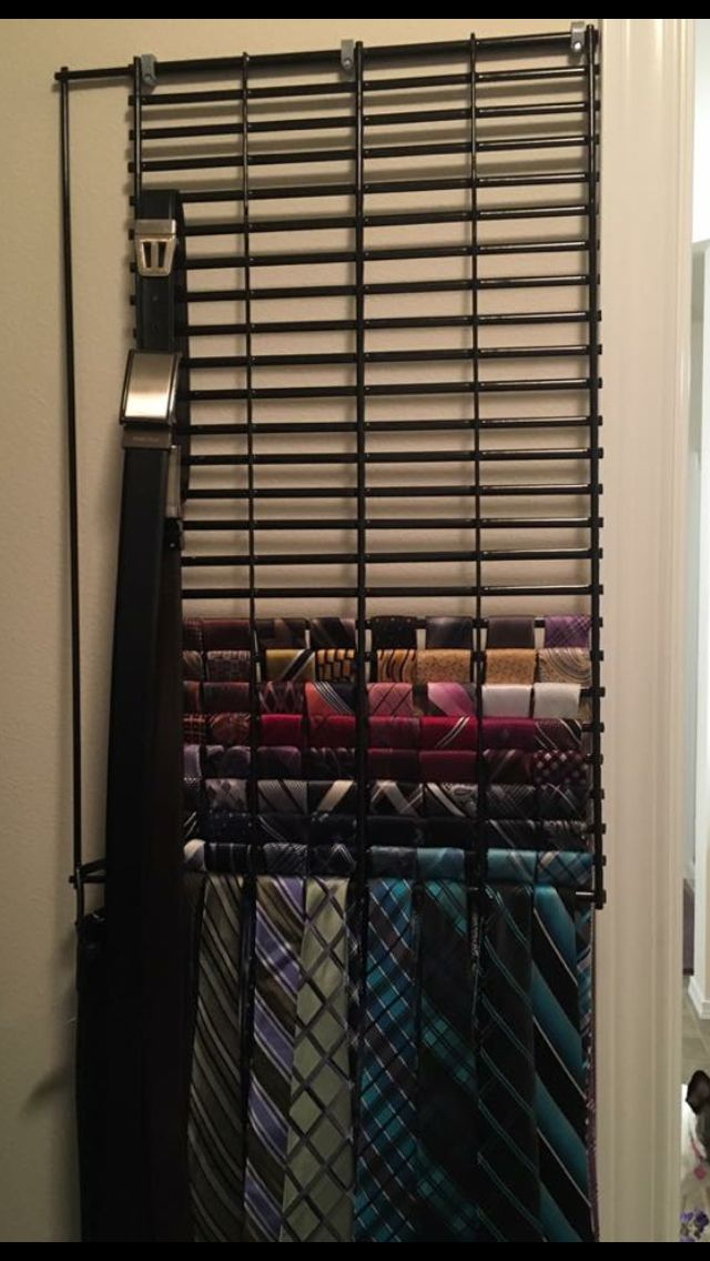 diy tie organizer w bbq rack or cooling rack