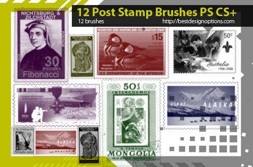 postage stamp photoshop brushes   Photoshop brushes, Post ...
