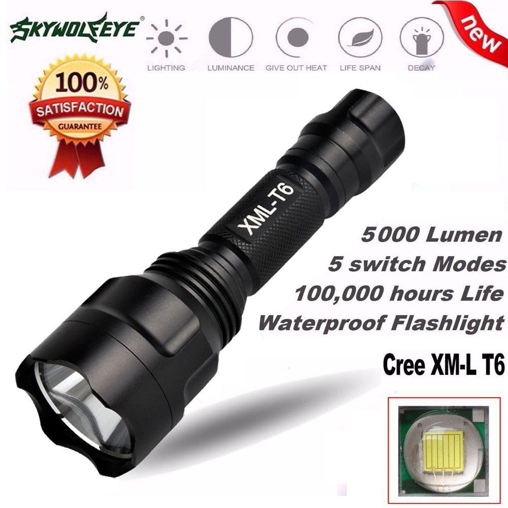 5000lm C8 Cree Xm L T6 Led 18650 Flashlight 5 Mode Torch Tactical High Power Headlamp 5000 Lumens Black Light Lamp