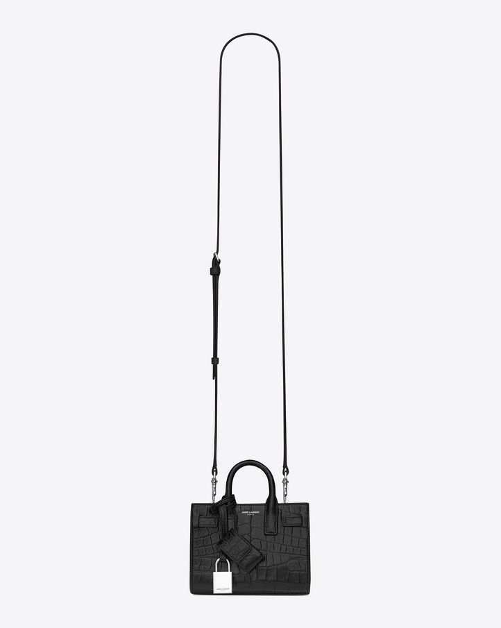a1f0c0216 Saint Laurent Classic Toy SAC DE JOUR BAG In Black Crocodile Embossed  Leather | ysl.com