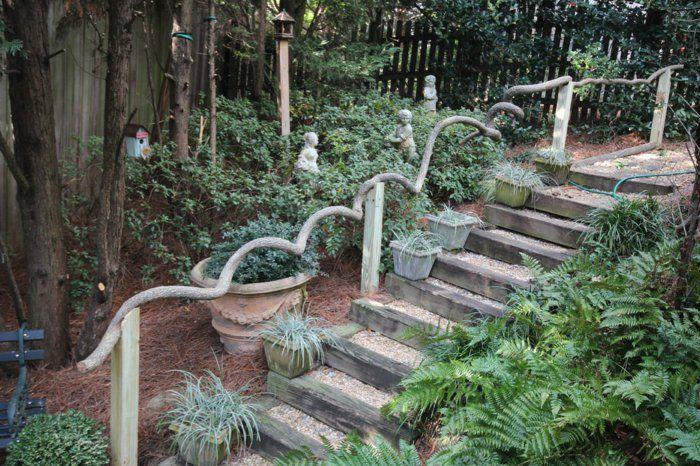 Gartentreppe Holz Dekoideen Fur Eine Schone Gartengestaltung