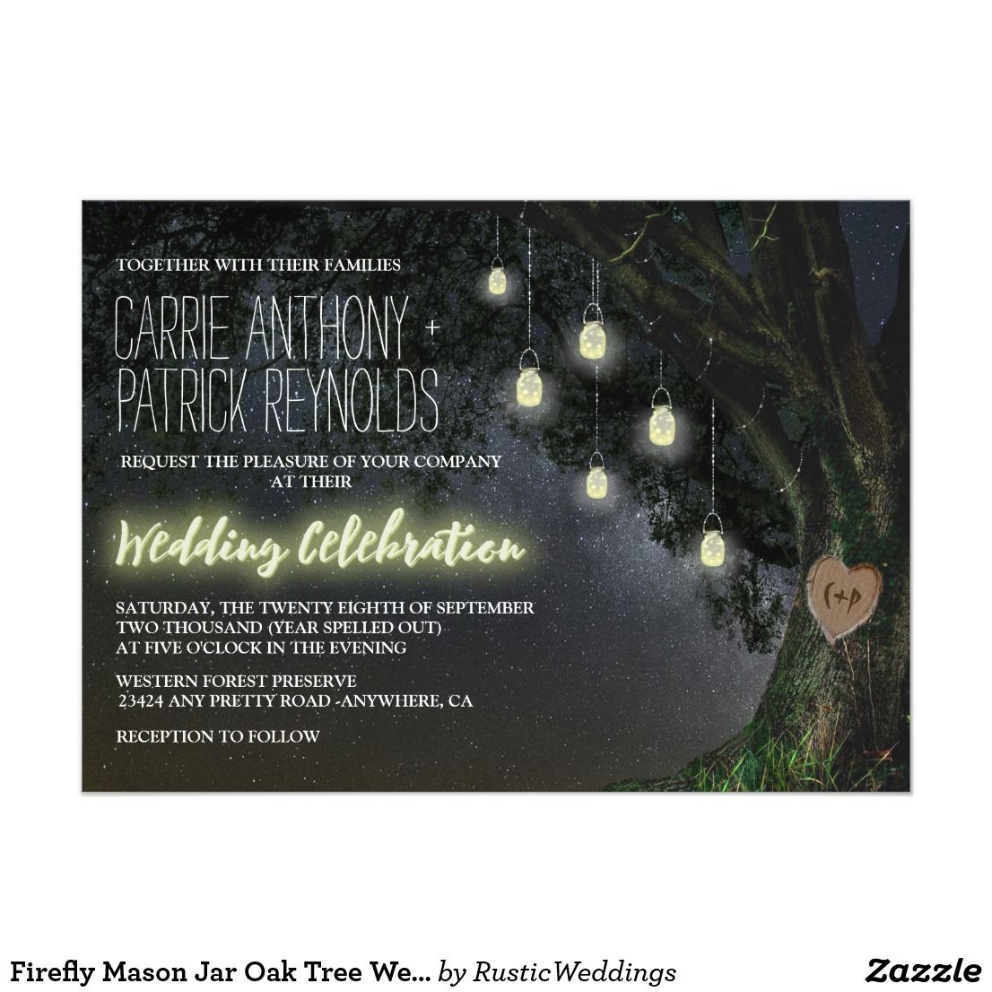 wedding party invitation message%0A Firefly Mason Jar Oak Tree Wedding Invitations