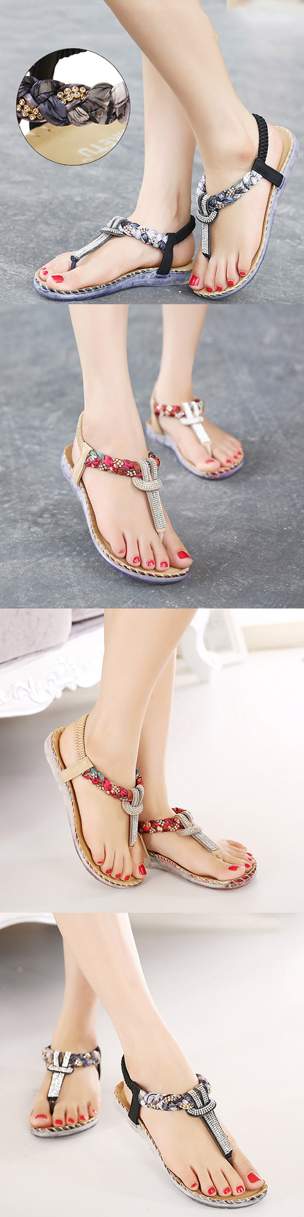 1b03b98cf66c8 US 18.75  Boho Style Bohemian Bead Floral Elastic Clip Toe T Strap Slip On Flat  Beach Sandals  Boho Summer Sandals  Boho Beach Casual Sandals For Women