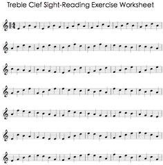 Treble Clef Sight Reading Worksheet Music Theory Lessons Piano