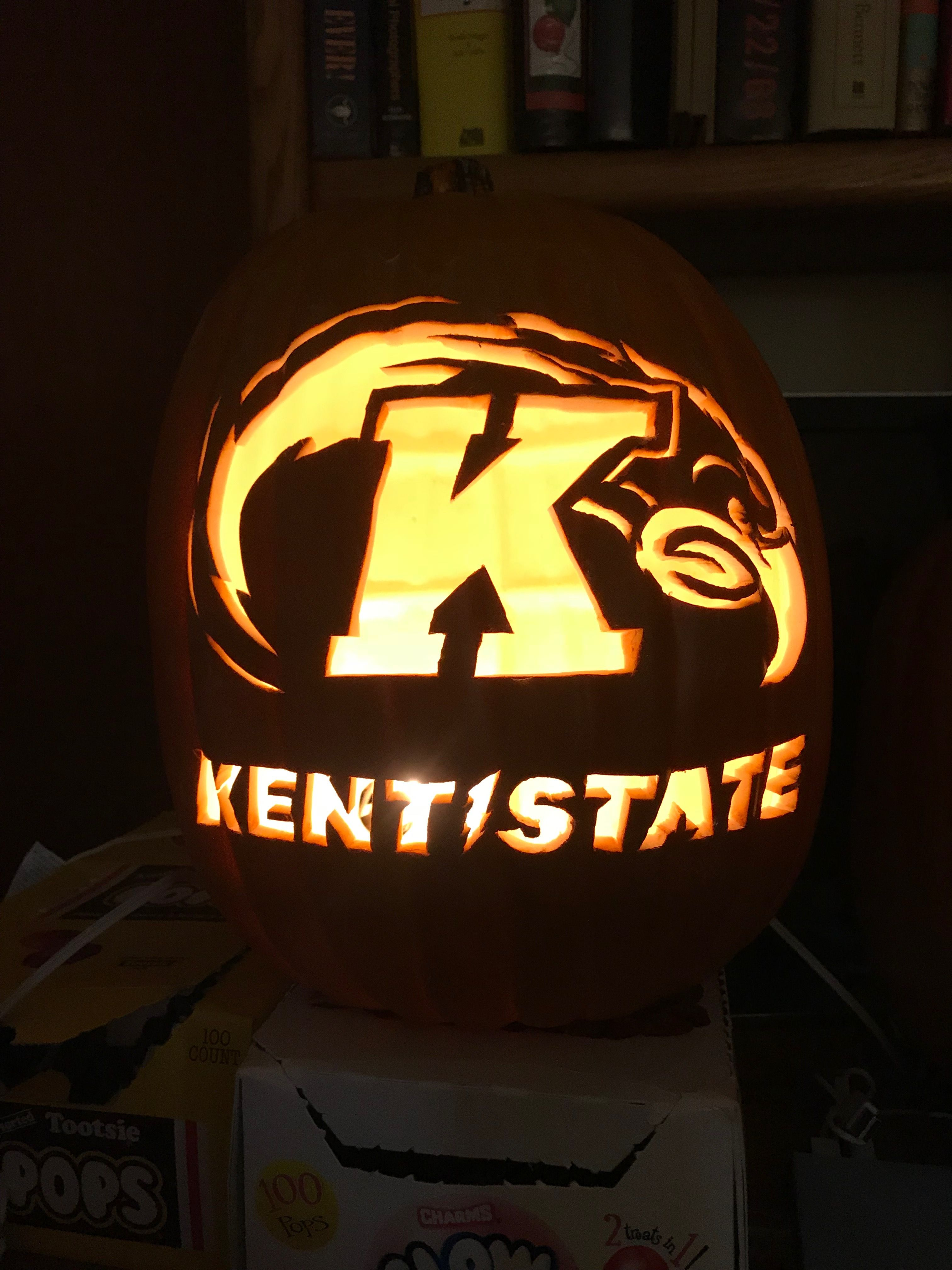 Kent State for Malissa Pumpkin carving, Tootsie pop, Carving