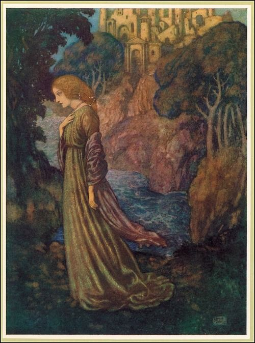 It was many and many a year ago,              In a kingdom by the sea,              That a maiden there lived whom you may know              By the name of Annabel Lee    Edmund Dulac ~ The Poetical Works of Edgar Allan Poe ~ Hodder & Stoughton ~ 1912
