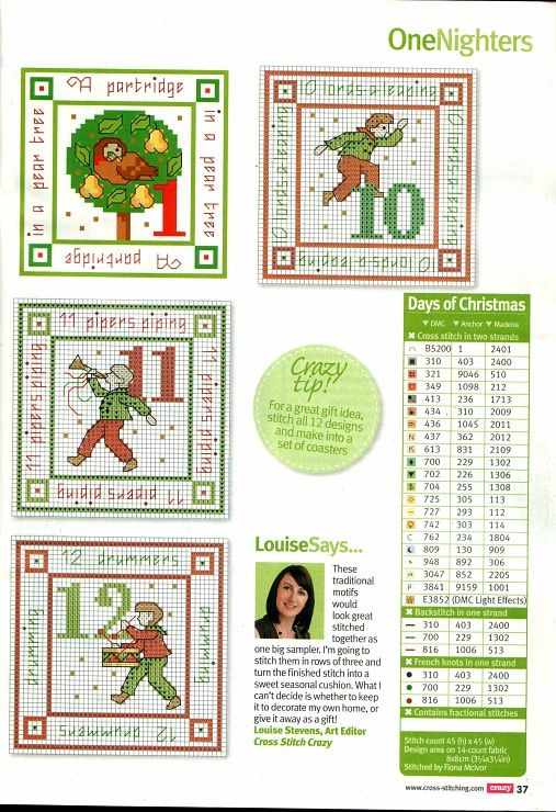 Twelve days of christmas gifts number chart
