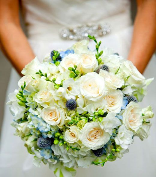 gathered bridal bouquet made with garden roses thistle freesia and hydrangea - Garden Rose And Hydrangea Bouquet