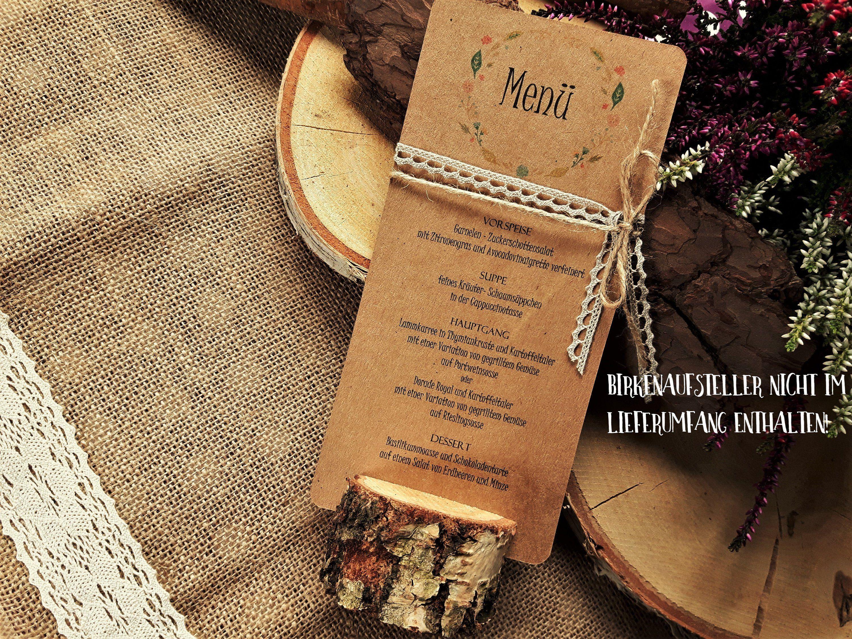Menukarte Menu Hochzeit Vintage Getrankekarte Holz Birkenholz Jute