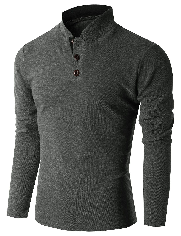 Doublju Men's Long Sleeve China Collar Henley Neck T-shirt ...