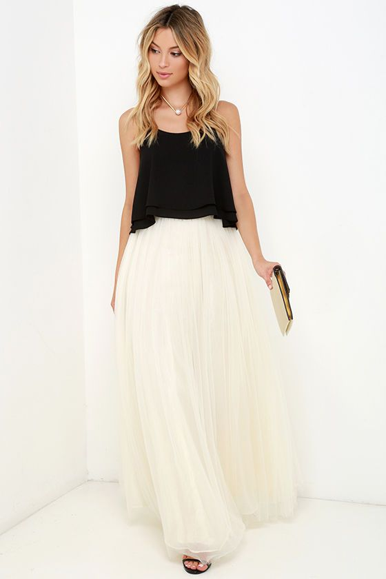 b3b363ed8f Scoop of Sorbet Cream Tulle Maxi Skirt | STYLE. | Skirts, Fashion ...