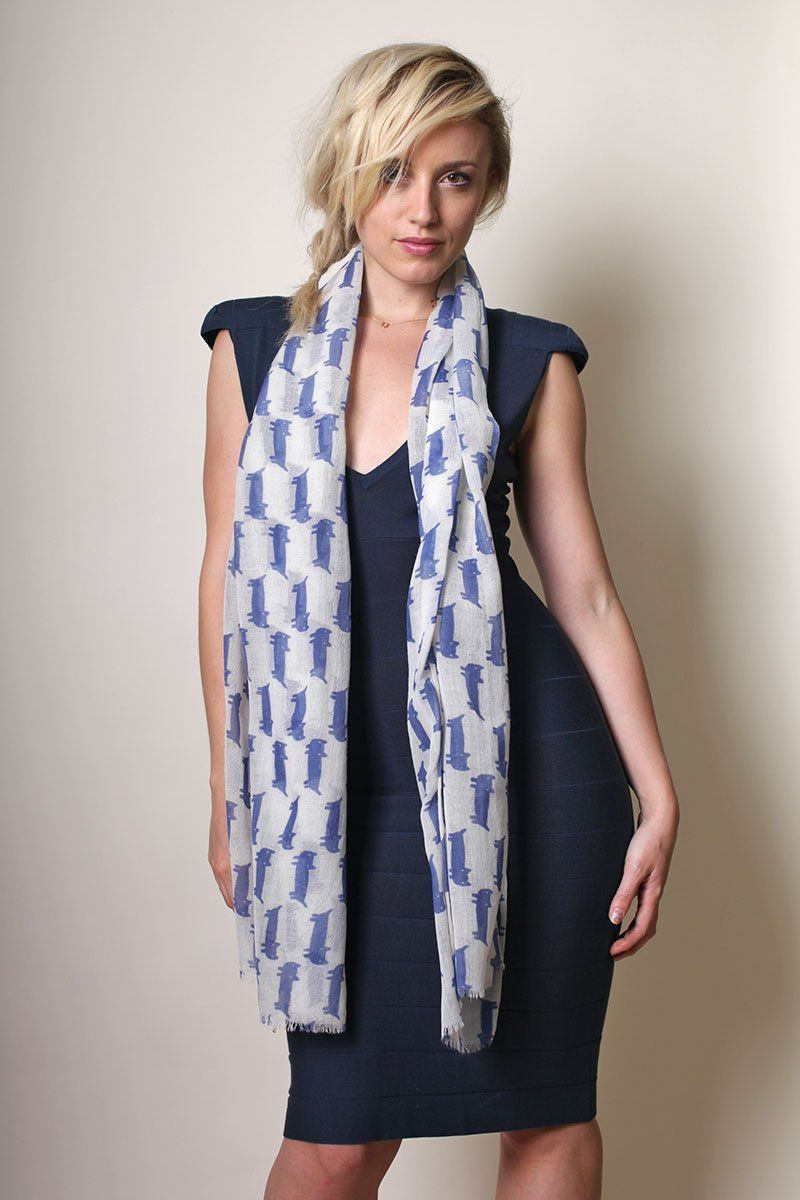 Women's Kitty Cat Fine Wool Fashion Scarf / Shawl / Wrap (BLUE) // Trendy Fashion Scarves. Unique Holiday Gifts Ideas for Her. Cute Pretty Scarves. Winter Scarves.