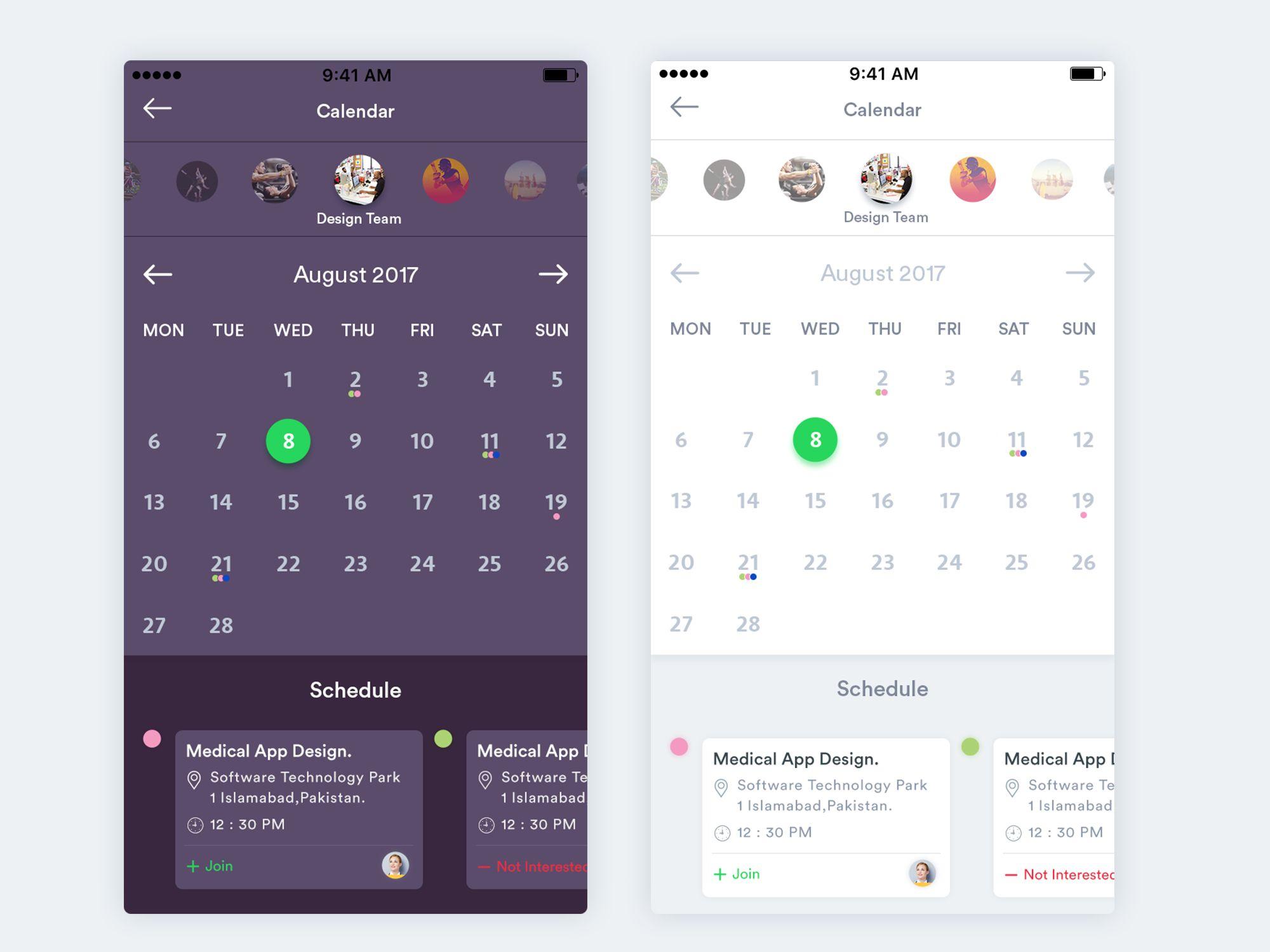Calendar schedule event app screen design2 (With images