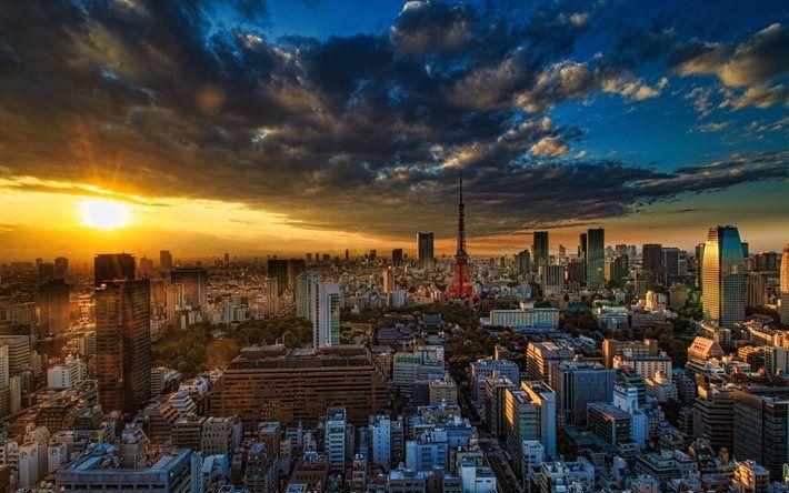 Tokyo Sunset Cityscape Asia Japan