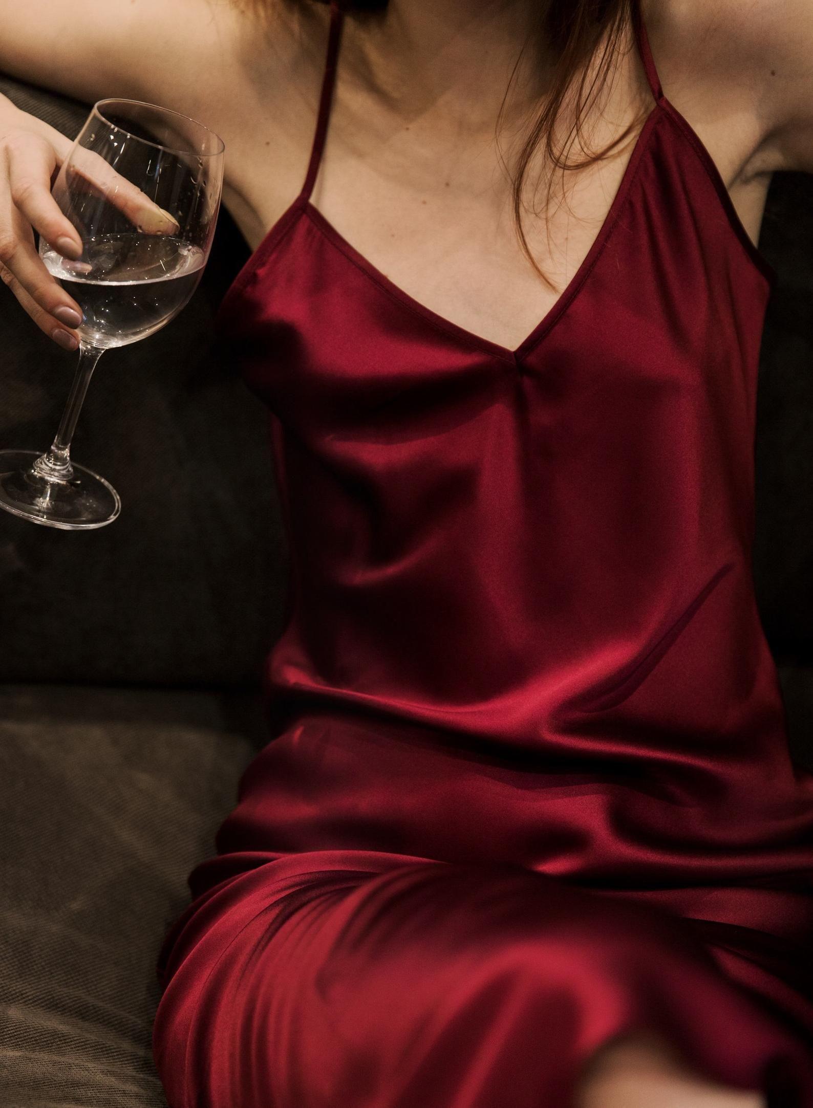 V Neck Silk Slip Dress Midi Wine Silk Bias Slip Stretch Silk Etsy Silk Slip Dress Slip Dress Red Silk Dress