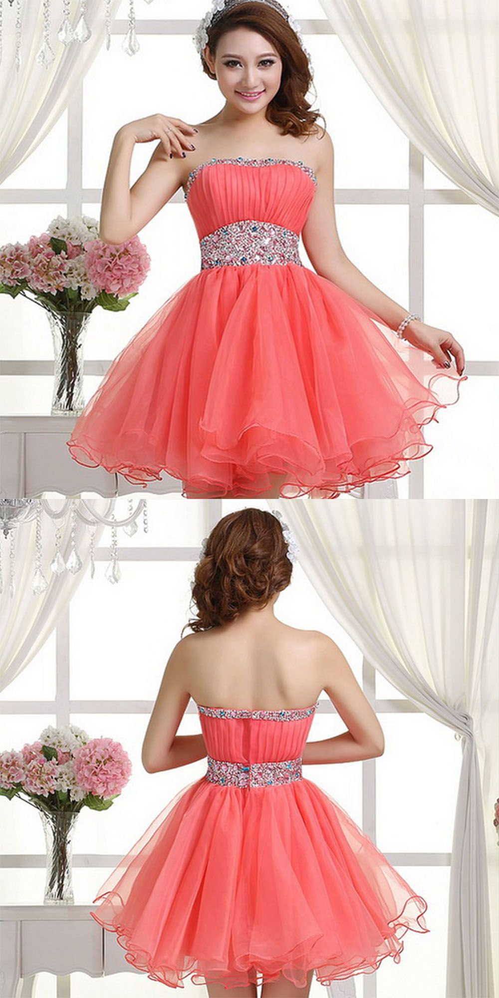 Coral Homecoming Dress,Sexy Homecoming Dresses,Tulle Homecoming Gown ...