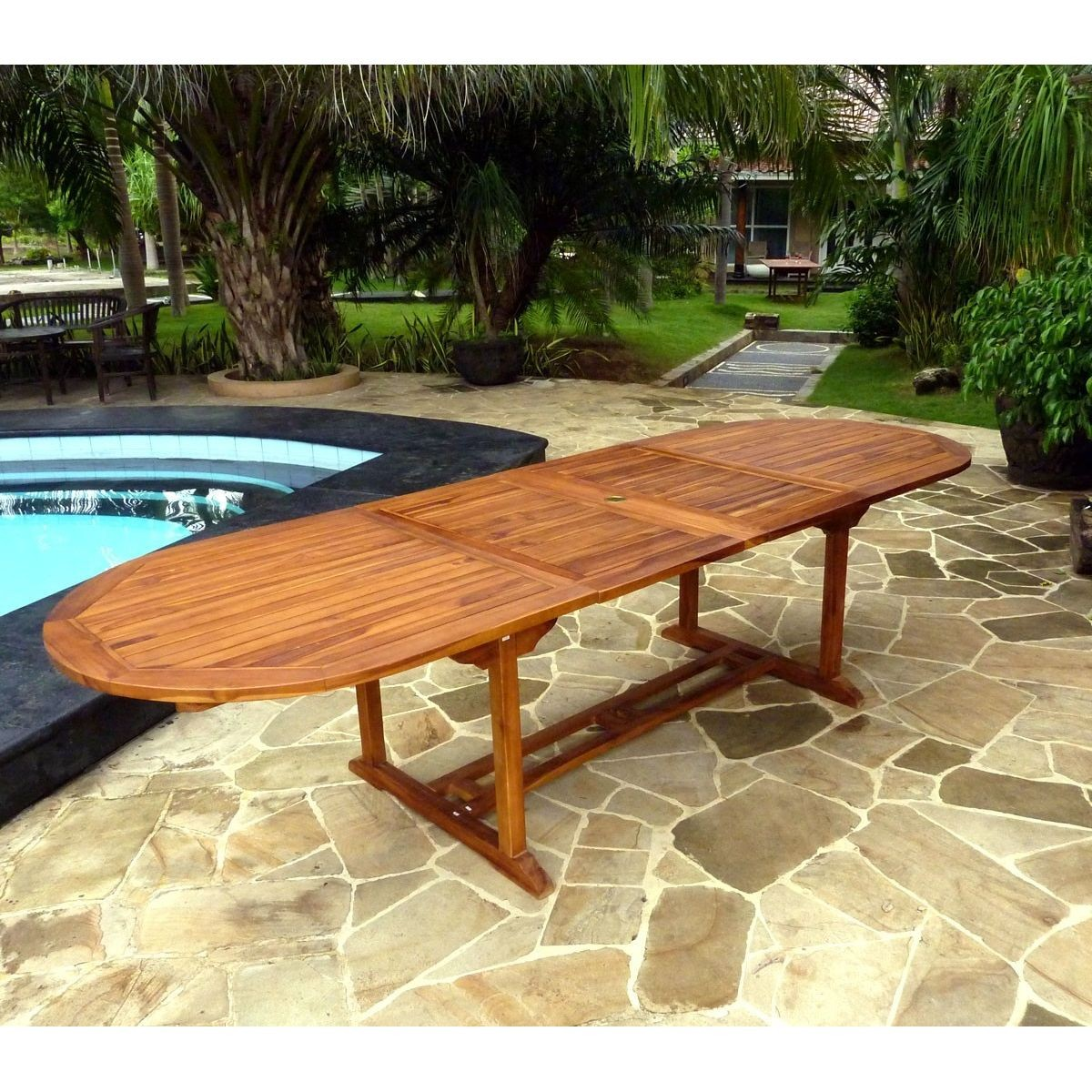 Table De Jardin En Teck Xxl 200-250-300 Cm Double Rallonge - Taille ...