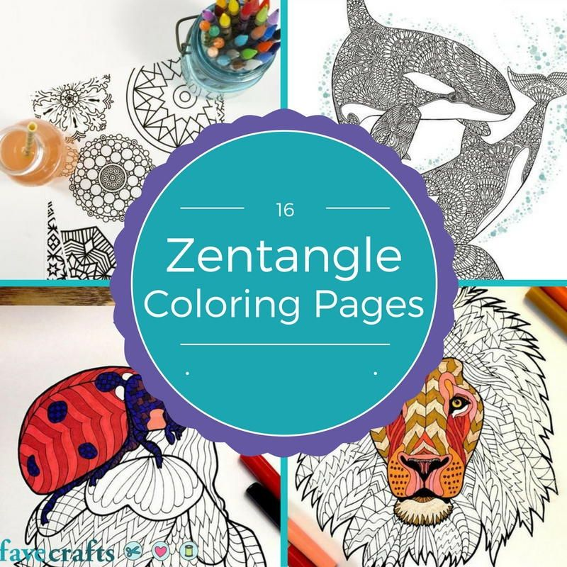 16 Zentangle Coloring Pages