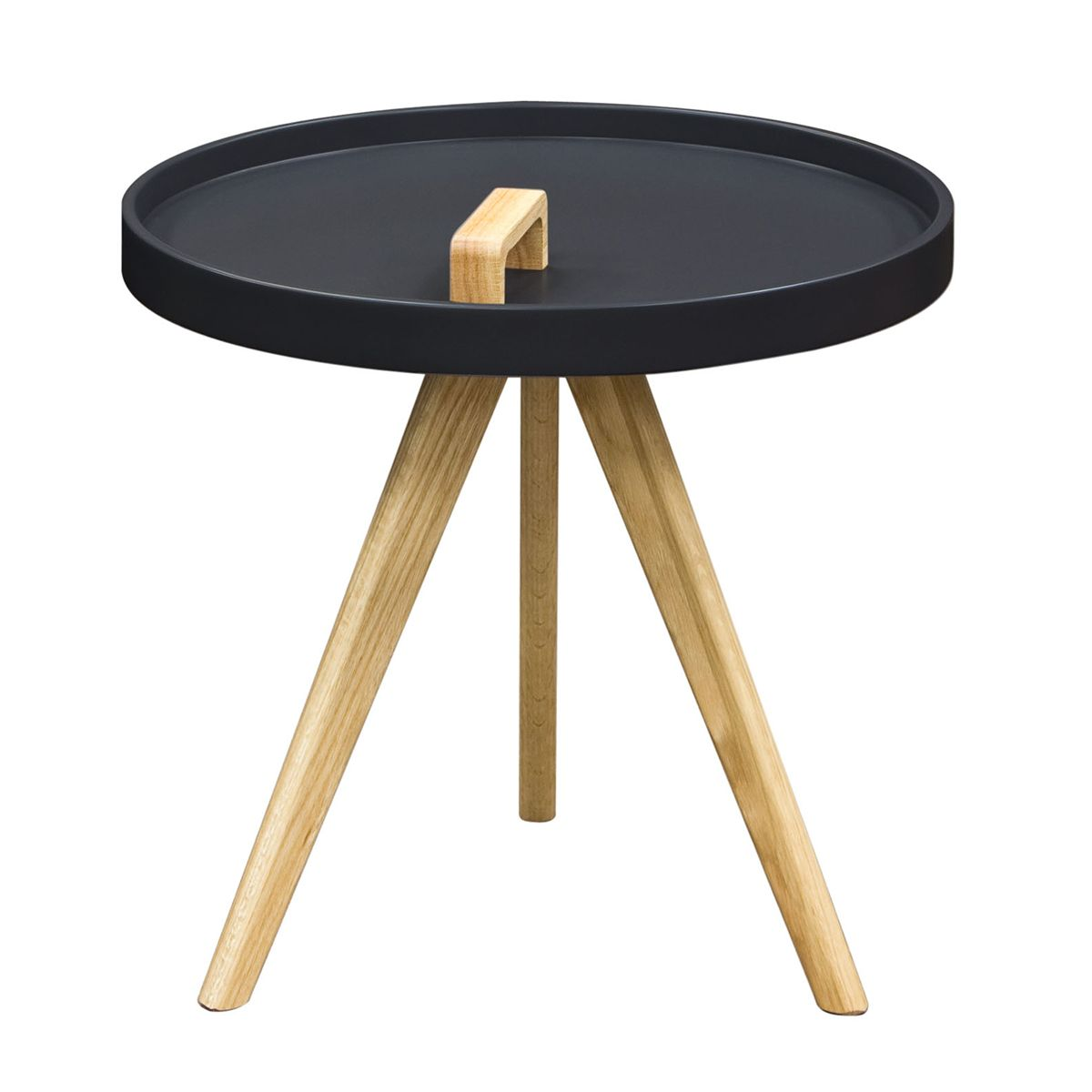 Diamond Sofa Mobi Accent Round Tray Table W/ Matte Black Lacquer Top U0026 Oak  Tipod Legs