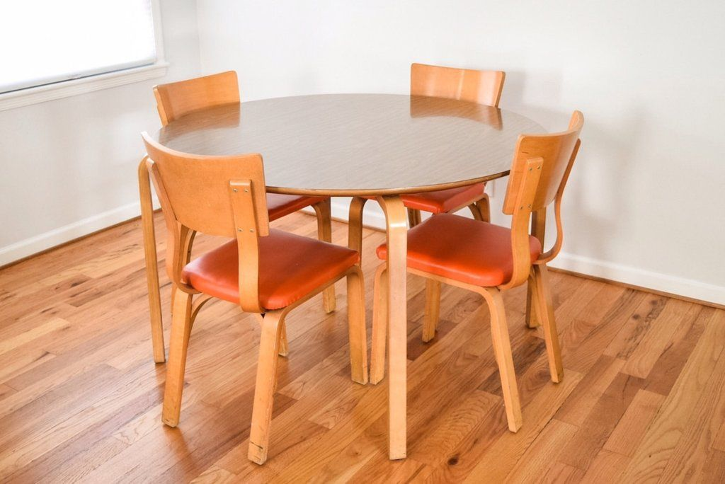 Original Mid Century Thonet Bent Plywood Table And Chairs