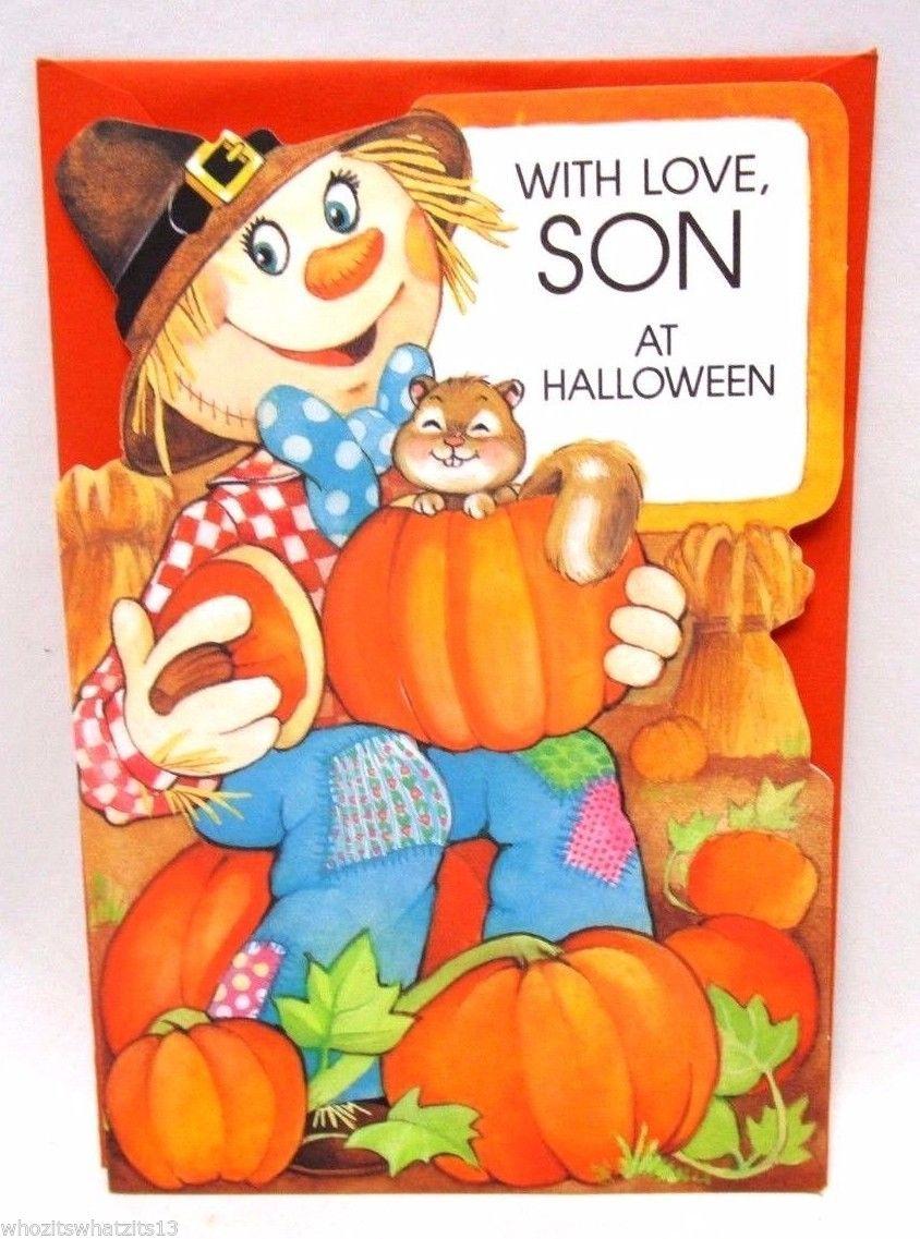 Halloween card hallmark card vintage holiday childrens