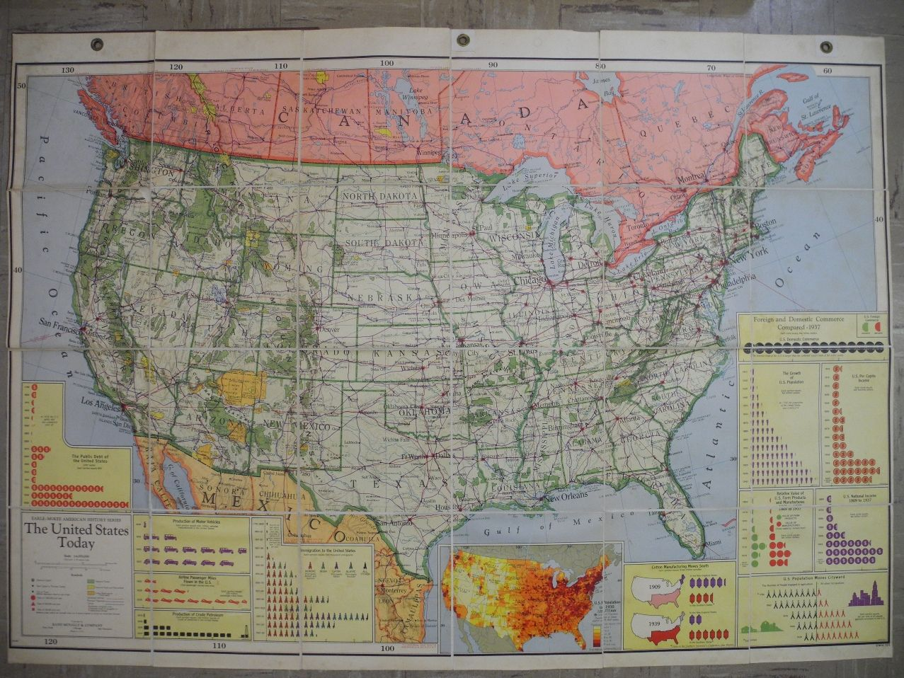 The United States Today 1937 Striking Wall Map Of The United