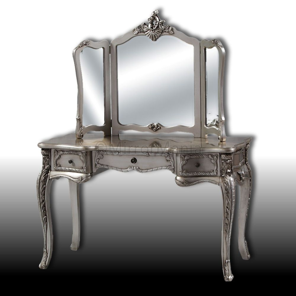 Yvette Antique Silver Dressing Table And 3 Fold Mirror Set Table   Furniture    Home Decor