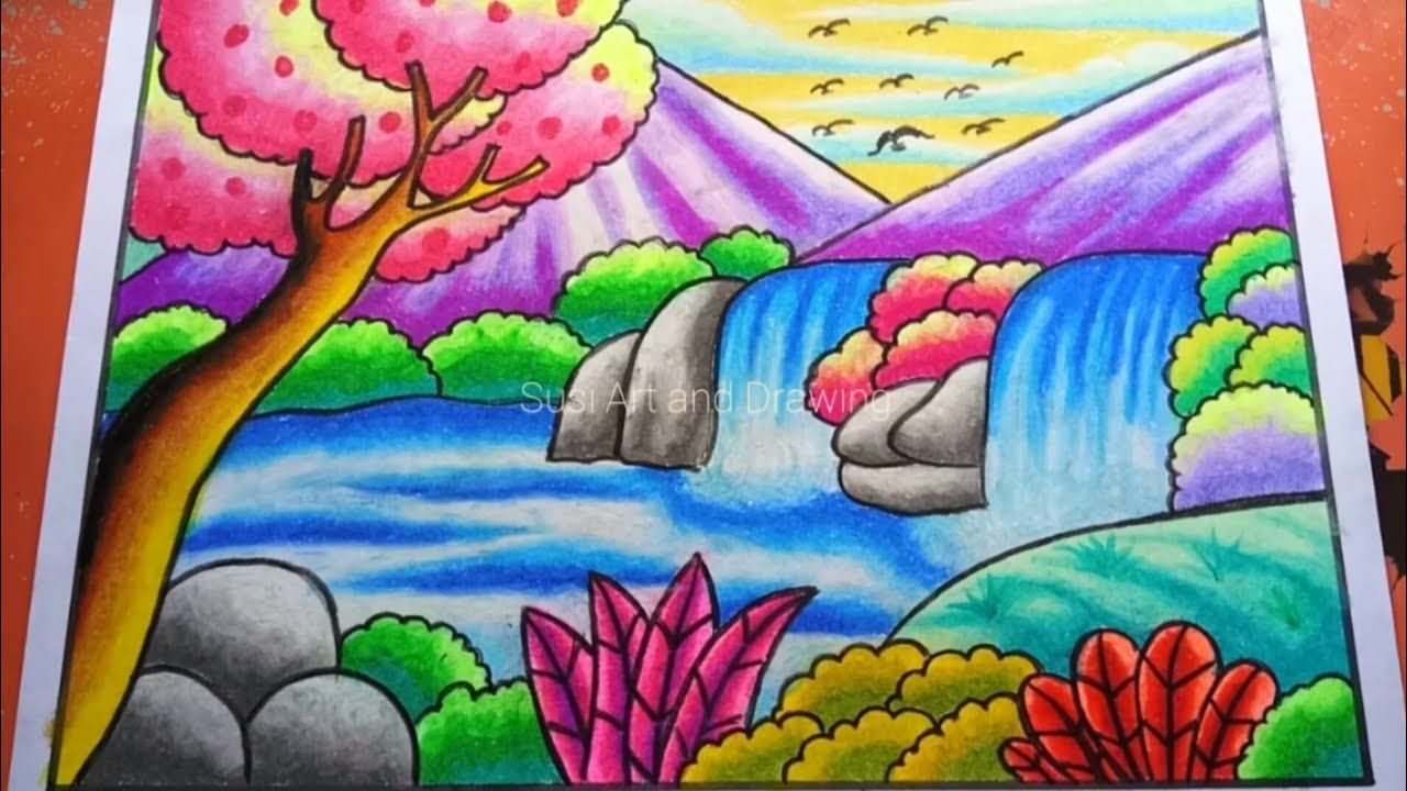 Cara Menggambar Dan Mewarnai Pemandangan Air Terjun Drawing