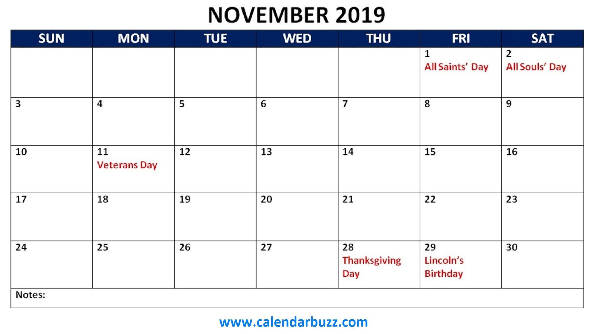 Printable Calendar November And December 2019 With Holidays november 2019 holidays calendar printable | 2019 Calendars
