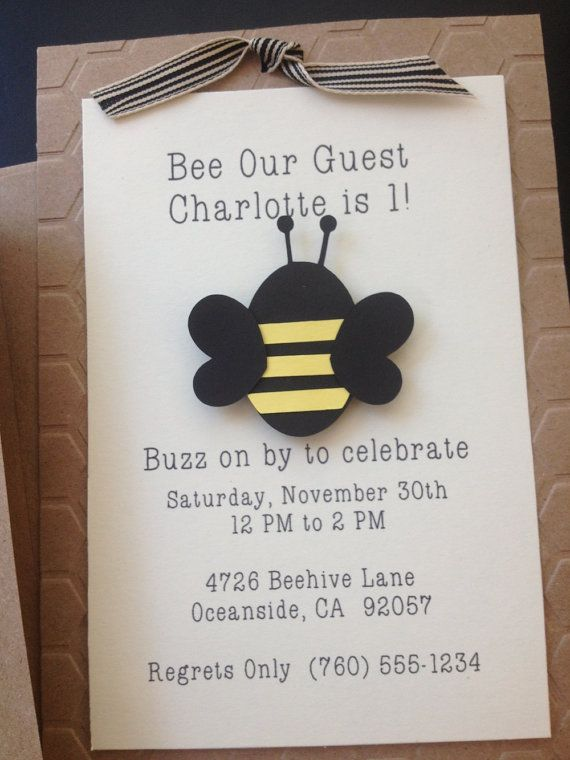 Bumble Bee Handmade Invitations Custom Made for Kid's Birthday Party or Baby Shower on Kraft Paper, Set of 8 Invites on Etsy, $18.00