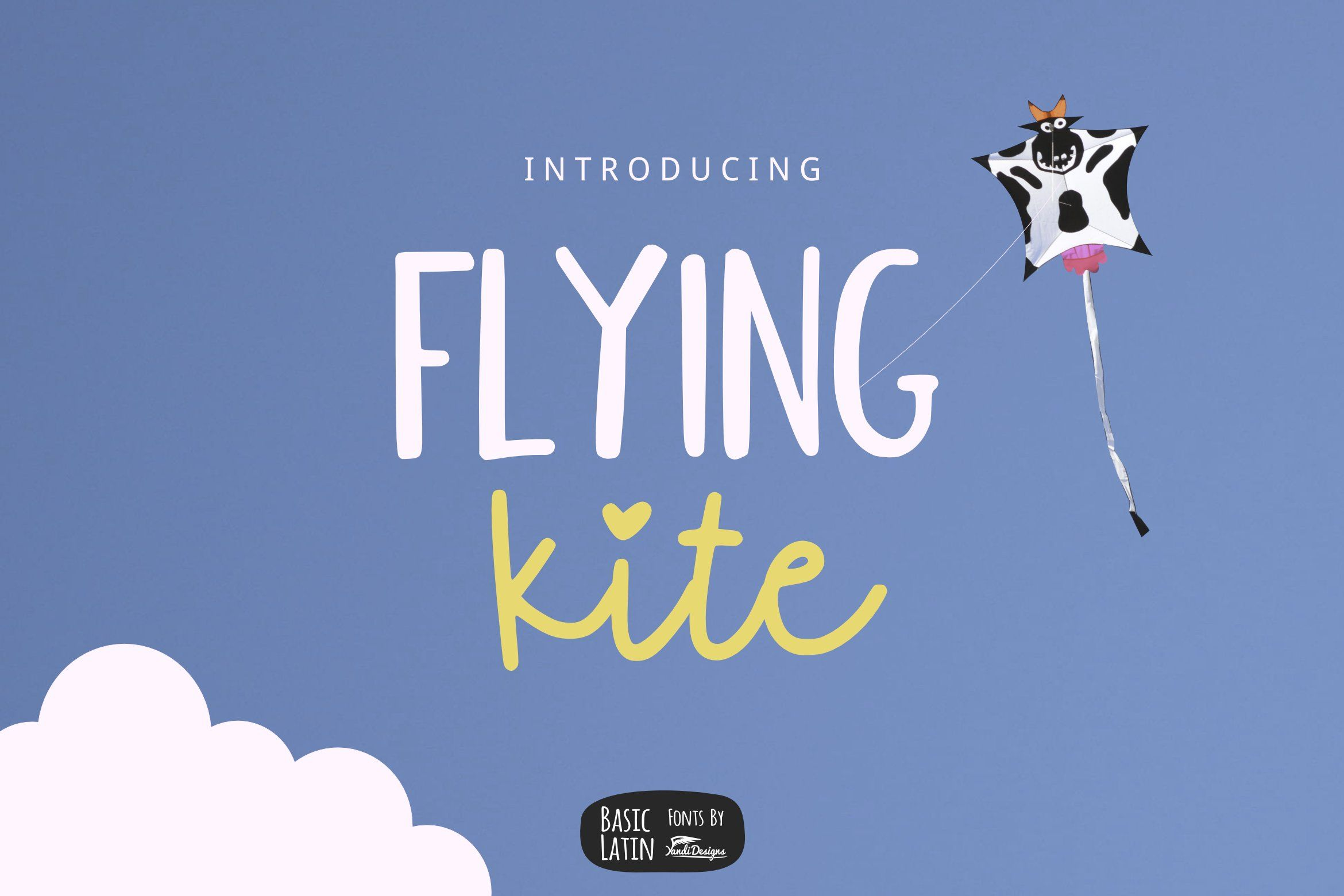 Download **Flying Kite Font** Simple, cute and lovely fun script ...