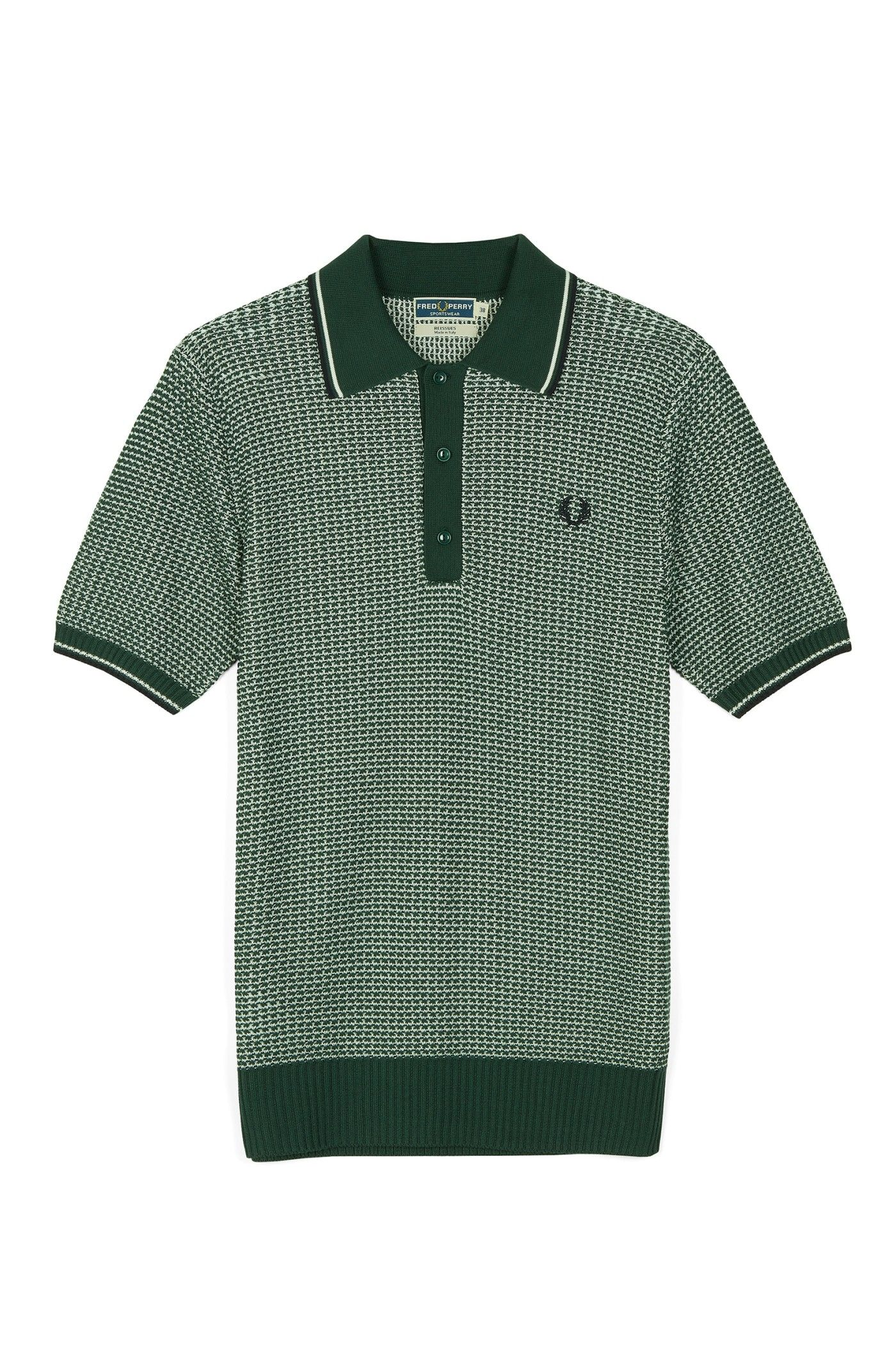 0d696b520 Fred Perry - Reissues Two Colour Textured Knitted Shirt Tartan Green ...