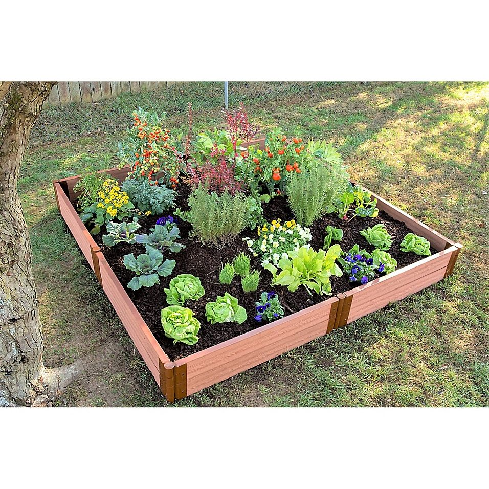 Frame It All Composite Raised Garden Bed Kit in Sienna