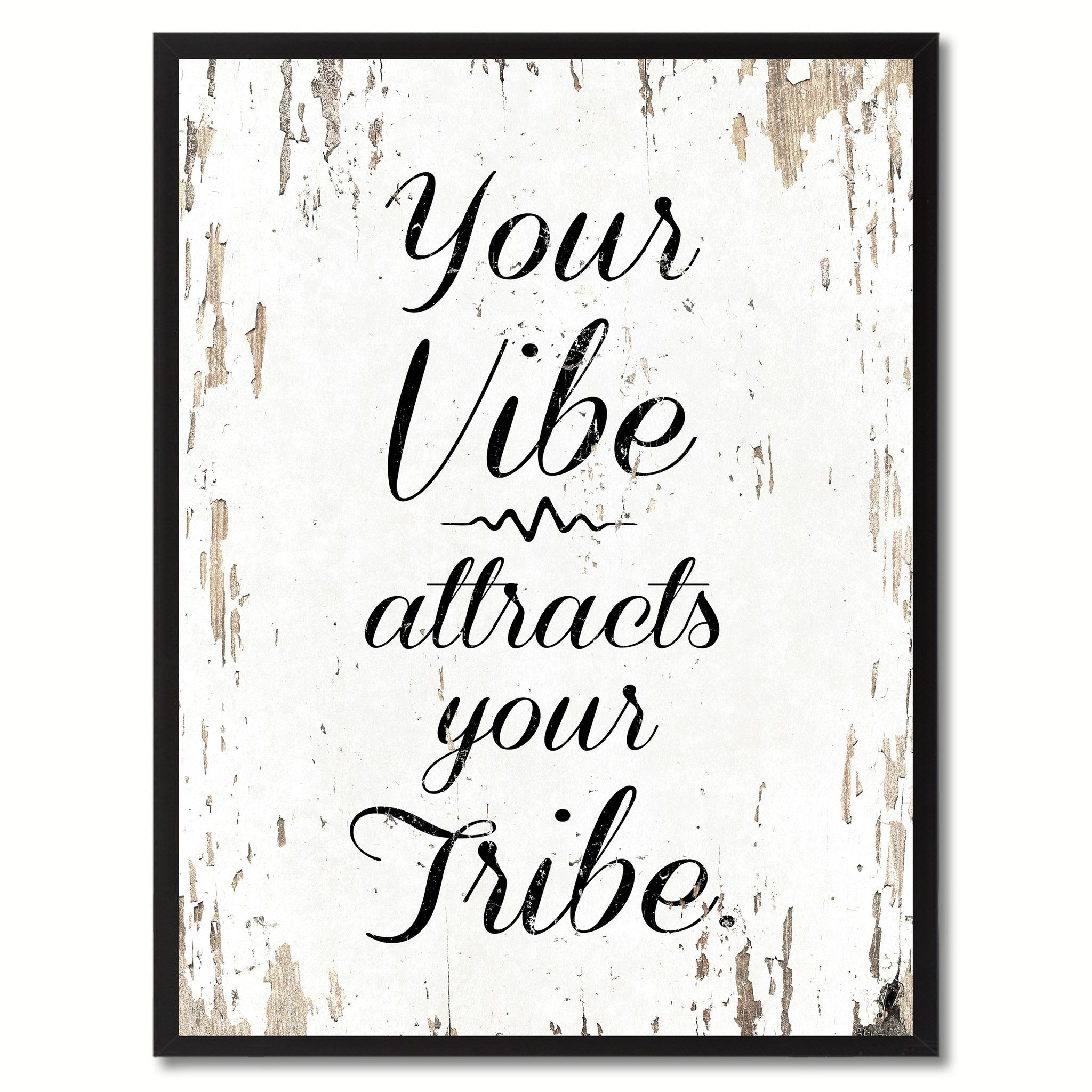 Your Vibe Attracts Your Tribe Inspirational Quote Saying Gift Ideas Home Decor Wall Art Custom Picture Frame Home Decor Wall Art Print Pictures