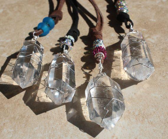 Quartz Crystal Goddess Necklace, Large Quartz crystal Jewelry, Spiritual Journey, Physic Fairs, Manifesting crystal, Gifts, Inarajewels