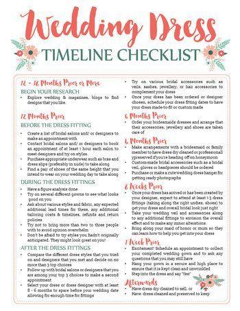 wedding dress planning timeline printable download wedding