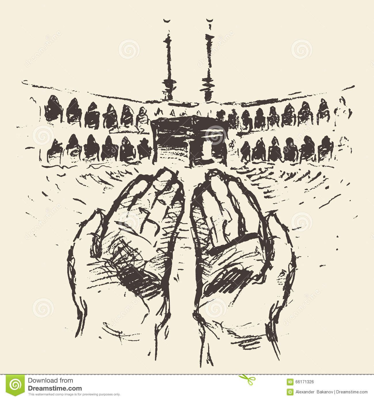 رسم برج المملكة Holy Kaaba Mecca Saudi Arabia Praying Hands Drawn Stock How To Draw Hands Islamic Caligraphy Art Mosque Art