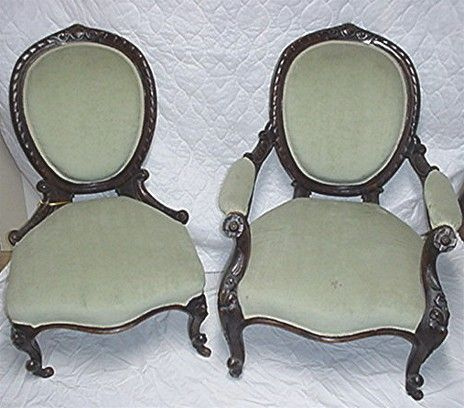 Victorian Chairs Matching Pair of Antique Ladies and Gents - Victorian Chairs Matching Pair Of Antique Ladies And Gents
