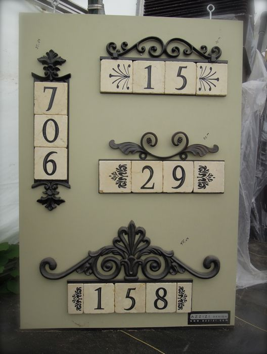 decorative address plaques with tile for the home. Black Bedroom Furniture Sets. Home Design Ideas