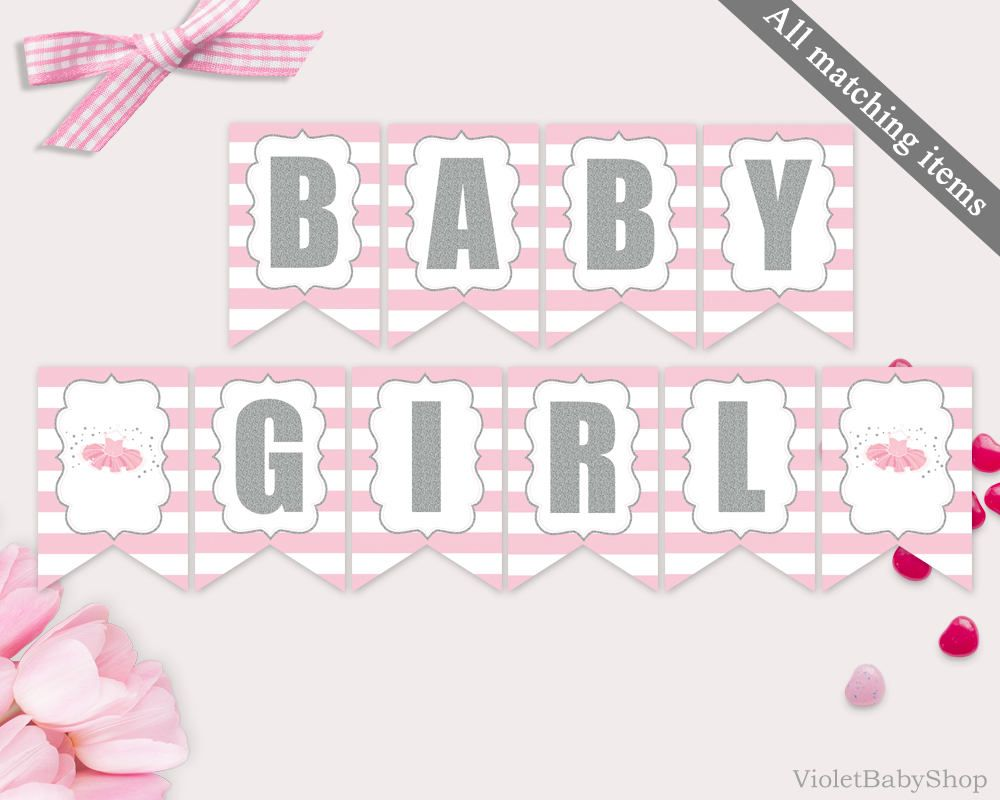 Baby Shower Banner Template Printable Tutu Excited Silver And Pink Modern Ballerina Decor
