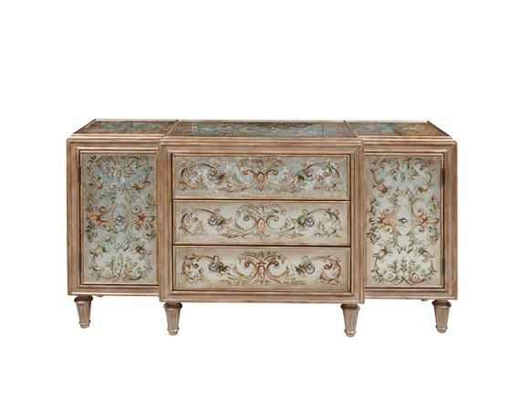 Pulaski Hand Painted Three Drawers Console