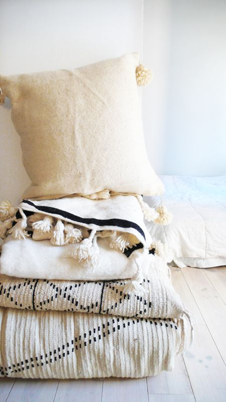 Moroccan POM POM pillow cover - wool natural undyed