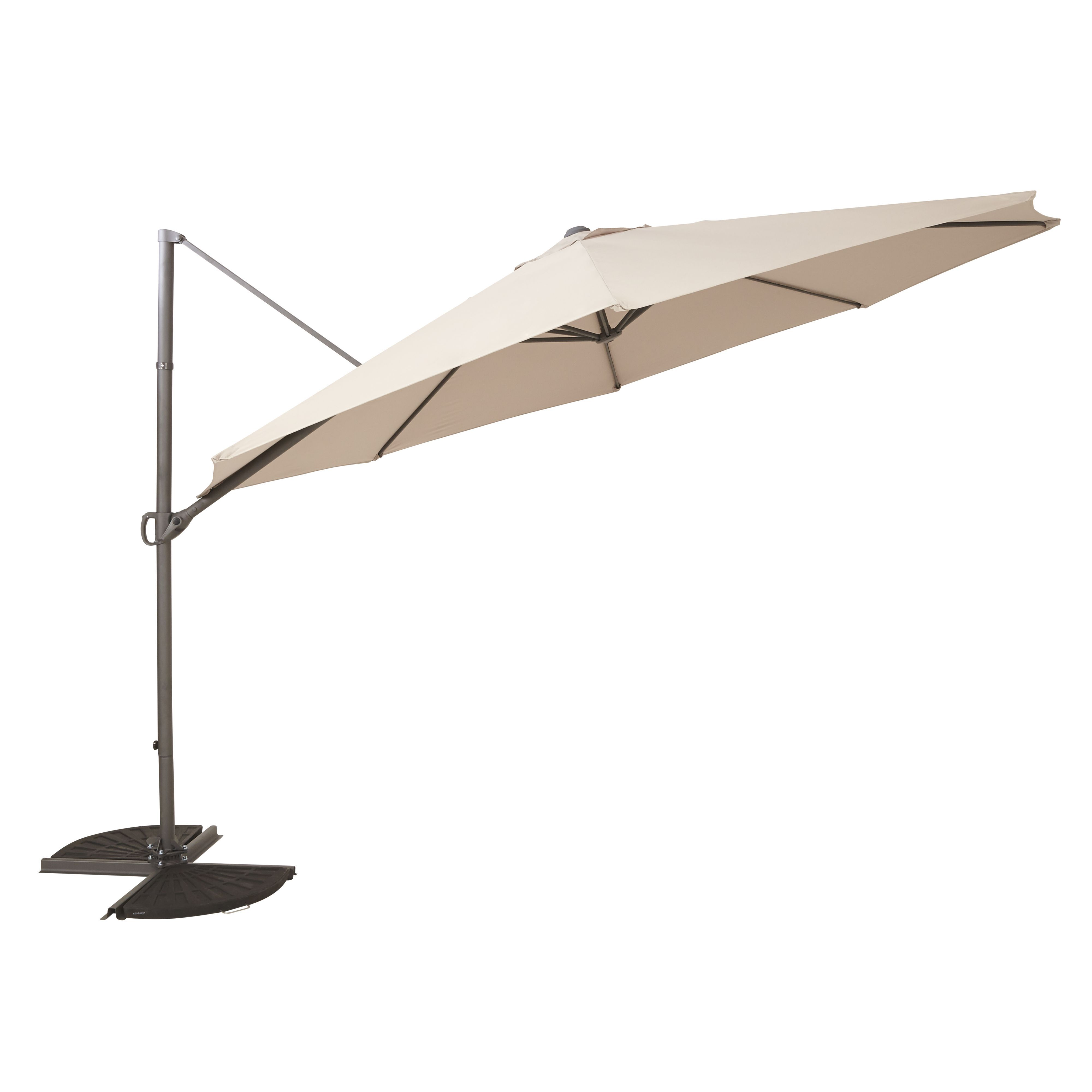 Mallorca 3.5m Taupe Overhanging Parasol | Departments | DIY at B&Q ...