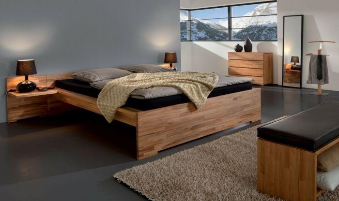 Betten Design Schick Holz Beiger Teppich Schwarzer Boden Teppich Beige,  Schwarzer Teppich, Schlafzimmer Ideen